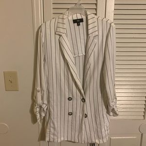 White pinstripe blazer